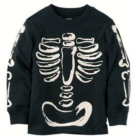 【キッズ】Carter's(カーターズ)光る!ホネホネプリントTシャツ(Black)【2T/3T/4T】/ハロウィンHalloween