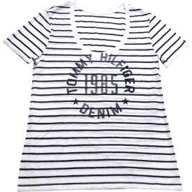 【レディース】Tommy Hilfiger(トミーヒルフィガー) HILFIGER DENIM ボーダーUネックTシャツ(White)