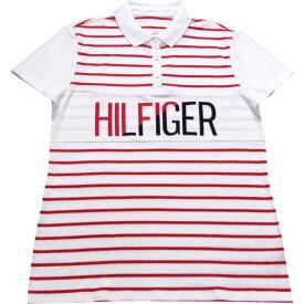 【レディース】Tommy Hilfiger(トミーヒルフィガー) HILFIGERロゴボーダー半袖ポロシャツ(White)