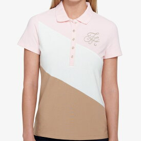 【レディース】Tommy Hilfiger(トミーヒルフィガー) THスランテッド半袖ポロシャツ(Pink/White/Beige)