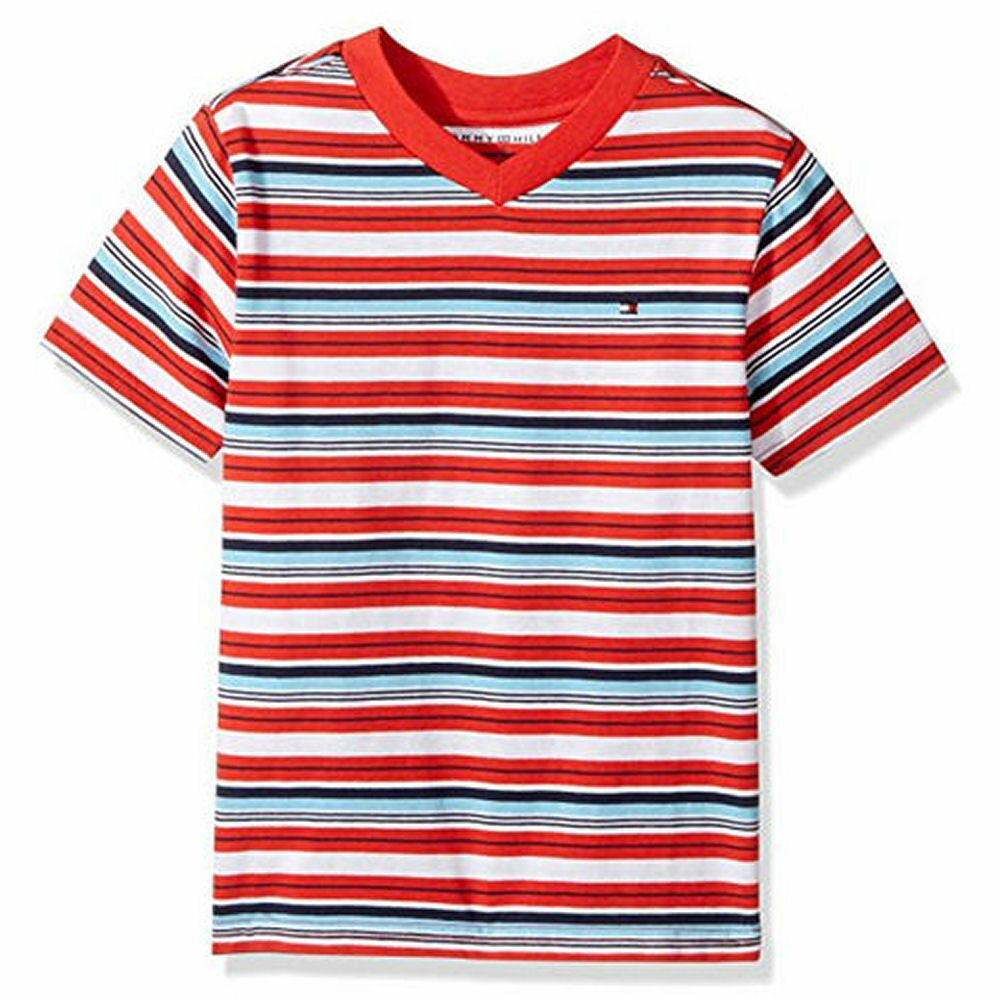 Tommy Hilfiger(トミーヒルフィガー) ワンポイントVネックボーダーTシャツ(Red)
