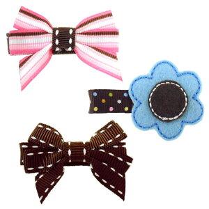 Angel's ribbon(エンジェルズリボン) クリップ付ヘアリボン・シック/リボン2・花1 (3個入)【003】