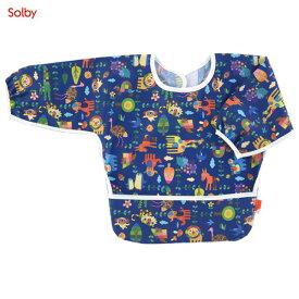 Solby(ソルビィ) ビブ・デ・バビ・デ・ブー/ロングスリーブ/アニマルリーフ/ネイビー