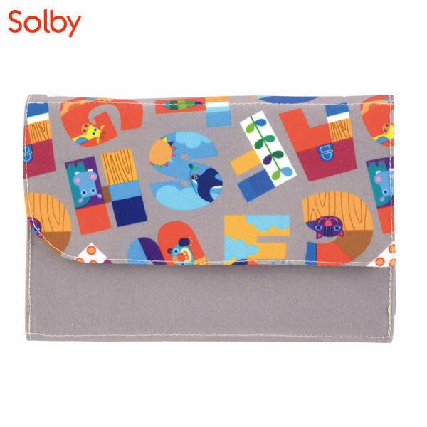 Solby(ソルビィ) ジャバラ母子手帳ケース/アニマルファベット/グレー