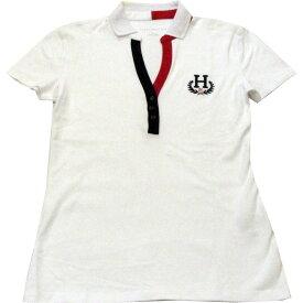 【アウトレット/レディース】Tommy Hilfiger(トミーヒルフィガー) トリコロールデザインネックスキッパーポロシャツ(White)