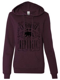 Republic 衣類 スウェット パーカー California JD Whiskey Black Print Ladies Lightweight Fitted Hoodie