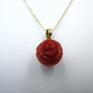 血赤珊瑚 ペンダント 直径10.3mm バラ 総彫り K18 土佐沖 さんご サンゴ コーラル sango coral 本珊瑚 無染色 宝石サンゴ