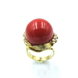 指輪 リング 土佐沖血赤珊瑚 14.64mm玉 K18 ダイヤモンド さんご サンゴ コーラル sango coral 本珊瑚 無染色 宝石サンゴ