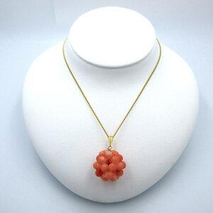 ピンク珊瑚 ペンダント 約5mm玉 シルバー さんご サンゴ コーラル sango coral 本珊瑚 無染色 宝石サンゴ