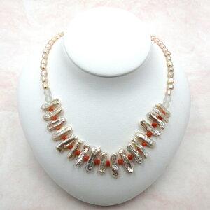 赤珊瑚 淡水真珠 ネックレス 水晶 マグネット さんご サンゴ コーラルさ sango coral 本珊瑚 無染色 宝石サンゴ