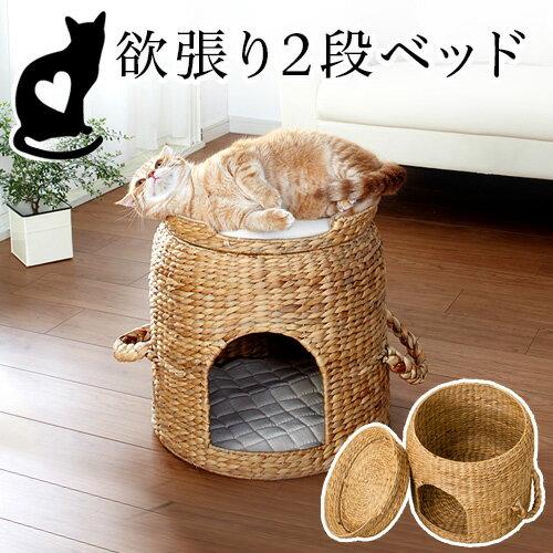 猫ちぐら ベッド付き猫つぐら ペット用ベッド 子犬用ハウス 猫用ベッド ペットハウス 天然素材 ウォーターヒヤシンス製 猫ベッド つぐら 猫 ねこ つぼ型 カゴ籠かごバスケット編み 丸い 円型 ドームベッド ドーム型ベッド