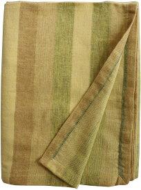 マルチカバー 起毛 長方形 ソファ ベッド 仕切り ひざ掛け 大きなひざ掛け 大判 即暖 フランネルボーダー 薄手 折りたたんでマルチに使える ストライプ エスニック グリーン インド 約180cm×240cm 長方形