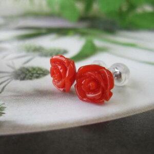 高知産赤珊瑚美しい薔薇の花のピアス/Pt900/『宝石サンゴ』