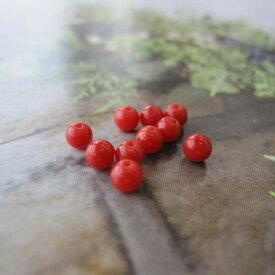イタリア(地中海)産赤珊瑚の丸玉ビーズ/3.8ミリ/貫通穴/(10個セット)/アクセサリー/『宝石サンゴ』