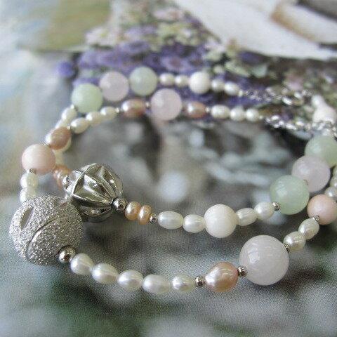 珊瑚と天然石淡水パールのデザインブレスレットSILVERアジャスター