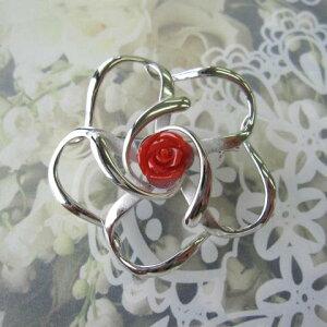 高知産血赤珊瑚の薔薇のブローチ/バラ/SILVER/天然/『宝石サンゴ』