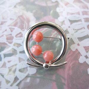 ピンク珊瑚のリースモチーフブローチ/SV925/天然/『宝石サンゴ』