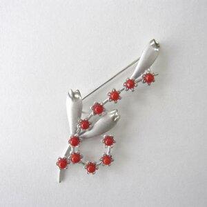 高知産赤珊瑚のブローチ/SILVER/天然/『宝石サンゴ』