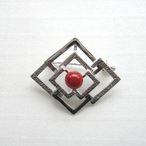 高知産血赤珊瑚のブローチ/6.2ミリ/SILVER/天然/『宝石サンゴ』