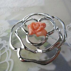 ピンク珊瑚薔薇のカメリアブローチ/SILVER/天然/『宝石サンゴ』