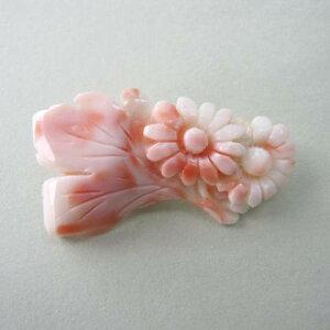 ピンクサンゴ菊の花のブローチ/G.SILVER/アクセサリー/『宝石サンゴ』