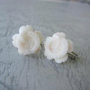 白珊瑚梅の花のイヤリング/SILVER/コーラル/『宝石サンゴ』