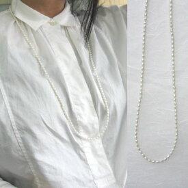 淡水パールのロングネックレス/SILVER.925/90cm/赤珊瑚付き/コーラル/真珠