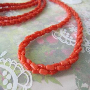 イタリア産赤珊瑚の3連ねじりネックレス/G.SILVER/『宝石サンゴ』/サルジ