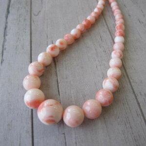 ピンク珊瑚のグラデーションネックレス/(センター約12.5ミリ)/44センチ/『宝石サンゴ』