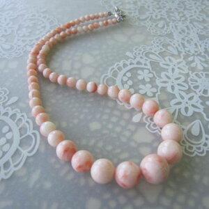 ピンク珊瑚のグラデーションネックレス/(センター約12.7ミリ)/44センチ/『宝石サンゴ』
