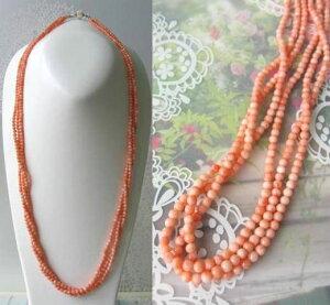 ピンク珊瑚の3連ロングネックレス/約78センチ/SILVER/天然/『宝石サンゴ』