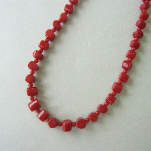 イタリア産赤珊瑚のネックレス/SILVERアジャスター/41センチ/『宝石サンゴ』