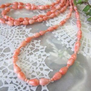 ピンク珊瑚のネックレスSILVERアジャスター/天然さんご・サンゴ/