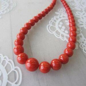 イタリア産赤珊瑚のネックレス/センター9.8ミリ/42.5センチ/K14/『宝石サンゴ』