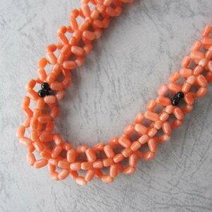 ピンク珊瑚の編みネックレス/SILVER/42センチ/天然/『宝石サンゴ』