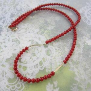 美しいイタリア産赤珊瑚(コーラル)ネックレス/3.5ミリ/K18/K14パーツ/『宝石サンゴ』