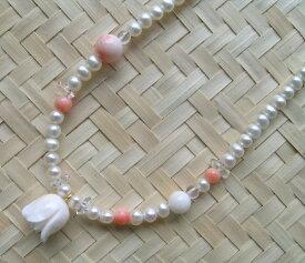 白・ピンク珊瑚と淡水パールのネックレス