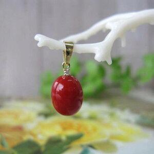 高知産血赤珊瑚のオーバルペンダントトップ/K18/ダイヤモンド0.01ct/『宝石サンゴ』