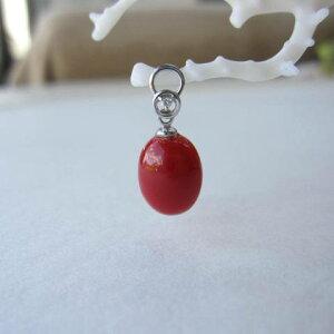 高知産血赤珊瑚のオーバルペンダントトップ/K18WG/ダイヤモンド0.01ct/『宝石サンゴ』