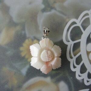 ピンク珊瑚お花のペンダント/G.SILVER/天然素材/『宝石サンゴ』