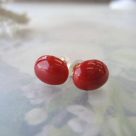 高知産血赤珊瑚のオーバルピアス(7.4×9.2ミリ)/K18/さんご/オススメ『宝石サンゴ』