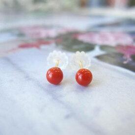 高知沖産赤珊瑚のプチピアス(約3.6mm)/K18(シリコンキャッチ)/直結/『宝石サンゴ』