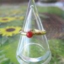 高知沖産赤珊瑚のフリーリング(真鍮)(3.5ミリ)指輪/天然石/コーラル【ネコポス送料無料】