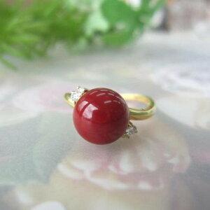 日本・高知産血赤珊瑚のデザインリング・指輪/(9ミリ)/ダイヤ0.07ct/K18/『宝石サンゴ』