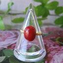 高知産血赤珊瑚のオーバルリング/K18/指輪/『宝石サンゴ』
