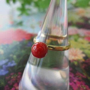 高知産血赤珊瑚のリング/(6.2ミリ玉)/指輪/K18/『宝石サンゴ』