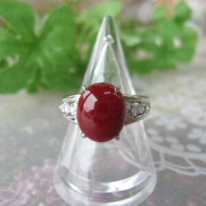 高知産血赤珊瑚の豪華プラチナデザインリング/指輪/(11.2×9.3ミリ)/Pt900/ダイヤ0.24ct/『宝石サンゴ』
