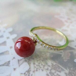 日本・高知産血赤珊瑚のデザインリング・指輪/(8.4ミリ)/ダイヤ0.11ct/K18/『宝石サンゴ』