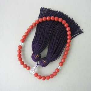 イタリア産赤珊瑚の数珠(6.5ミリ)/高級天然本珊瑚/略式/片手数珠/『宝石サンゴ』