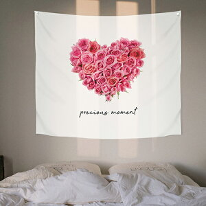 タペストリー ロゼリア 150x130cm ポスター 北欧 かわいい おしゃれ カフェ風 風景 スプリング ピンク インテリア 壁 花 柄 サンサンフー